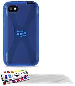 Ultraflache weiche Schutzhülle BLACKBERRY Q5 [Le S Premium] [Blau] von MUZZANO + 3 Display-Schutzfolien UltraClear + STIFT und MICROFASERTUCH MUZZANO® GRATIS - Das ULTIMATIVE, ELEGANTE UND LANGLEBIGE Schutz-Case für Ihr BLACKBERRY Q5