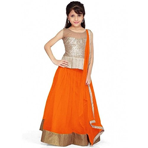 Clickedia Girls Kidswear Net Semi-Stitched Orange Lehenga Choli with duppatta - traditional wear ( 8-12 yrs)  available at amazon for Rs.249