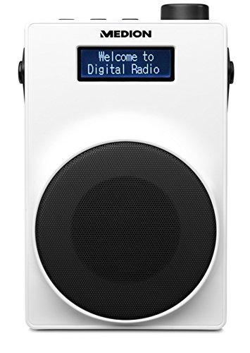 MEDION E66880 DAB+ Radio (PLL UKW, 1,8 Zoll Display, Akku, Teleskopantenne, Kopfhöreranschluss, USB Ladeanschluss, 30 Watt) weiß
