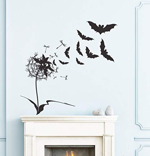 jiushizq Fliegende Fledermäuse Mit Blume Wandtattoos Für Halloween Home Special Decor Happy HalloweenWandaufkleberPoster Wm71x71cm