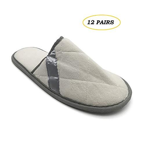 WHL.LL 12 Paar Geschlossene Zehe Atmungsaktiv Hausschuhe, Spa-Hausschuhe zum Gäste, Hotel, Reise, Unisex Wegwerf Hausschuhe,Weiß,28.5cm -