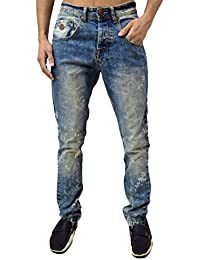 5c38d9c29431 Arrested Development Designer Herren Jeans Skinny Fit Ausgestelltes Bein stone  wash blau Denim Paint Dots Verkauf