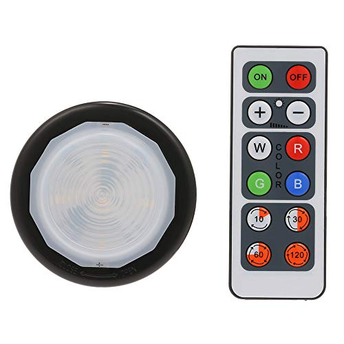Festnight 6Pcs Schwarz Runde LED Puck Licht Nachtlicht Multi-Farben RGB-Fernbedienung 10 Helligkeit Geeignet für Schubladen Schrank Kleiderschrank Schlafzimmer Licht