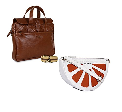 THE MAKER Combo Of Brown Synthetic Leather Unisex Laptop Bag With White And Orange Synthetic Leather Sling Bag