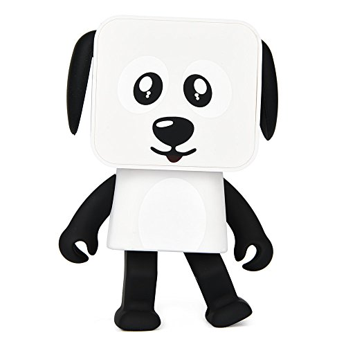 Kingko Tragbare Drahtlose Bluetooth Tanz Roboter Hund Lautsprecher Stereo Super Bass Lautsprecher Freisprecheinrichtung (Weiß) (Roboter Drahtlose)