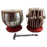 """Tabla Set 7.5"""" Metal Bayan and 5"""" Mango wood Dayan with Gaddi, Hammer"""