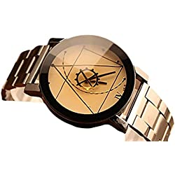 Familizo Stainless Steel Men Quartz Analog Compass Needle Wrist Watch White