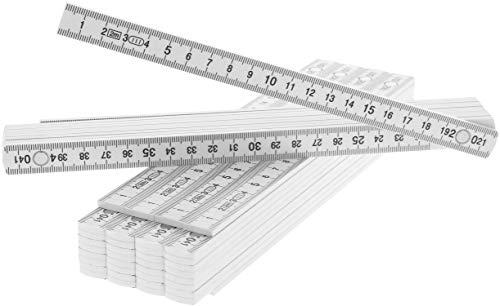 com-four® 5X Zollstock aus Kunststoff, 2 Meter Gliedermaßstab mit 10 Glieder, metrisch in weiß (05 Stück - Zollstock/weiß)