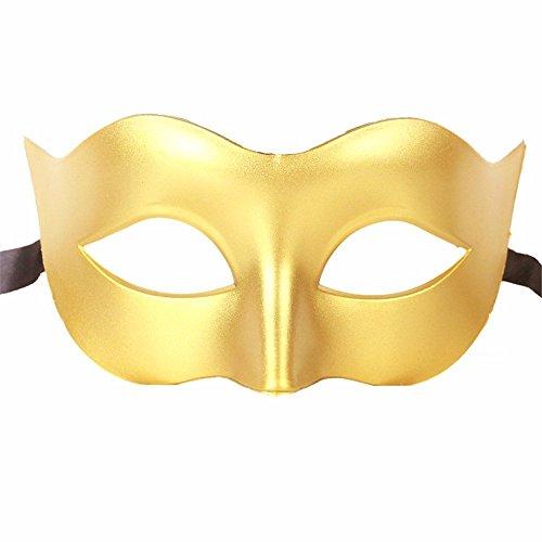 Gesichtsschutz Domino falsche Front Halloween Kostüm Tanz Maske Halb Gesicht Tanz Maske Flache Maske männliche Maske Weiblich Gold ()