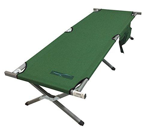 Sommeraktion Alu Feldbett Campingbett grün oder grau mit Seitentasche 190x74x43cm (grün)