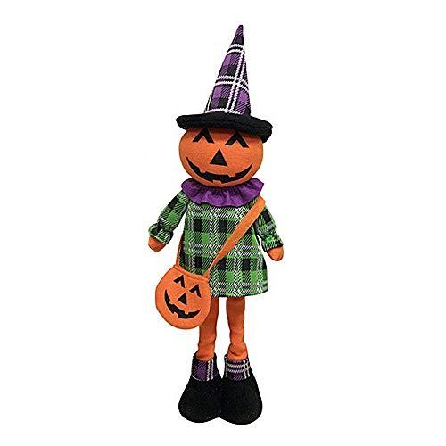 AOLVO Halloween Dekoration-Teleskop Puppe Plüsch Hexe Kürbis Gespenst Spielzeug Festival Home Parteien Pub Bar Geschenk Orange