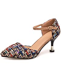 NVXIE Summer Plaid Womens Sandals Night Club Fashion High Heels Tip Mujeres Mujeres Gafas con Zapatos