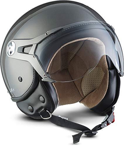 Soxon SP-325 Mono 'Titan' · Jet-Helm · Motorrad-Helm Roller-Helm Scooter-Helm Bobber Mofa-Helm Chopper Retro Cruiser Vintage Pilot Biker Helmet · ECE Visier Schnellverschluss Tasche XL (61-62cm)