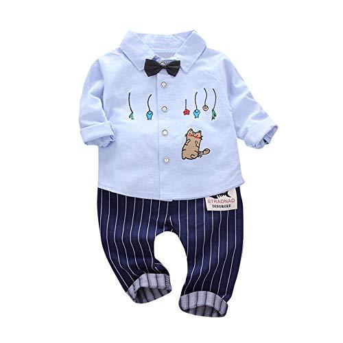feiXIANG Baby Kleinkind Hemd Hosen 2 Stücke Kleidung Set Katze Tops Streifen Drucken Junge Freizeitkleidung (Hellblau,12 Monate=M)