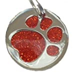 Engraved 25mm RED GLITTER PAW Pet ID Tag -...