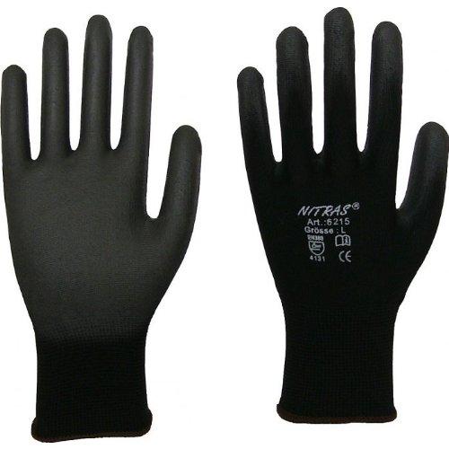 NITRAS 6215 Nylon Strickhandschuh Arbeitshandschuhe 12 PAAR schwarz Gr. XL