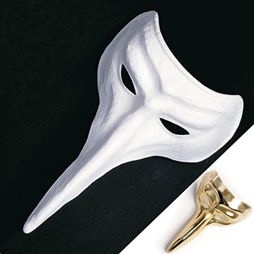 Venezianische Schnabel Maske Venedig Pestmaske Raben Maske Weiße Schnabelmaske Faschingsmaske Karnevalsmaske Pantalone (Maske Pest Venezianische)