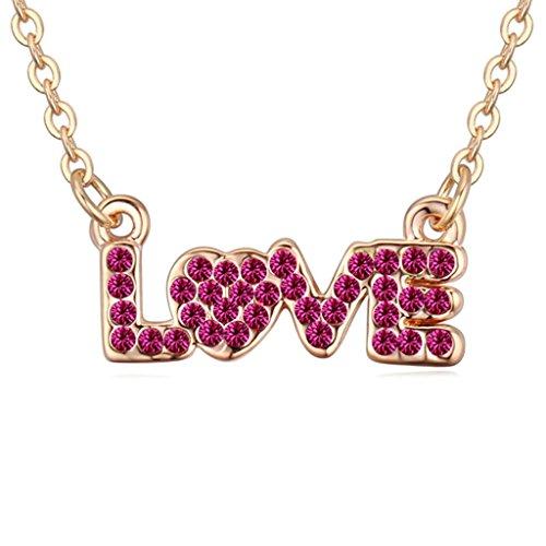 Daesar Schmuck Damenkette Vergoldet Liebe Synthetische Kristall Halskette Zirkonia Halskette Anhänger
