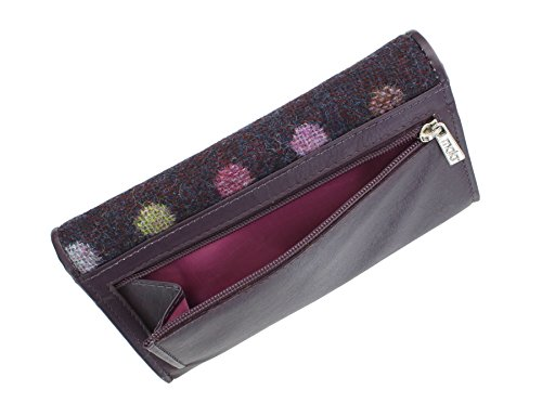 Pelle Mala Leather Collection ABERTWEED & Tweed Flap Negli borsa 3175_40 rosa confetto Plum Spot