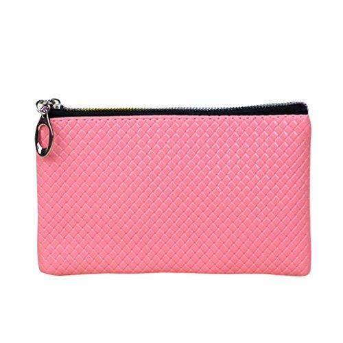 Hunpta Frauen Mode Leder Brieftasche Reißverschluss Clutch Geldbörse Lady Long Handtasche Tasche Rosa