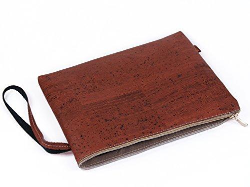 SIMARU Edle Banktasche aus modischem Kork / Korkleder, Geldscheintasche mit hochwertigem Reißverschluss, Tasche / Dokumententasche A5, Geldmappe / Bankmappe in vielen Farben (raizes) dunkelrot