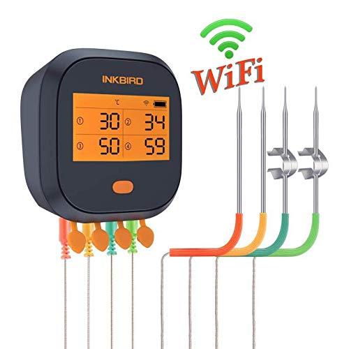 Inkbird IBBQ-4T WiFi BBQ Thermometer Termómetro inalámbrico recargable con 4 sondas Alarma Temporizador...