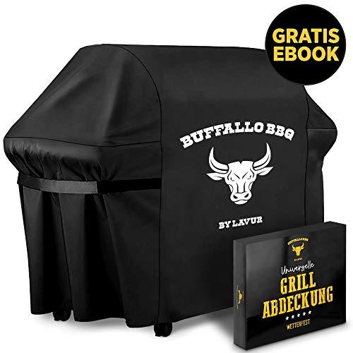 LAVUR ® Grillabdeckung by Buffalo BBQ - Abdeckplane Grill wasserdicht - ganzjährig wetterfest - universelle Größe - kinderleichtes Anbringen - inklusive E-Book...