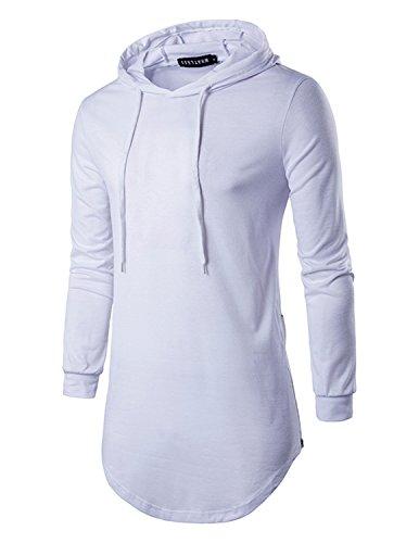 YCHENG Herren Hip Hop Langarmshirt mit Kapuze Lange Sweatshirts Hoodies Shirts Weiß