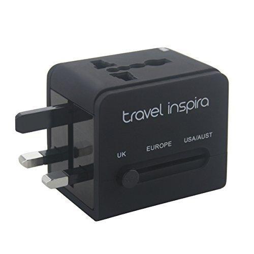 Travel Inspira - Caricatore da viaggio universale, adattatore AC da parete con spina, doppia porta (Universale Ac Parete)