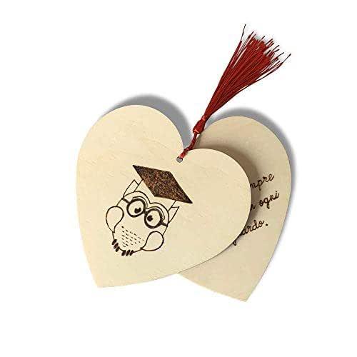 Biglietto auguri Laurea, cuore in legno con gufetto personalizzato a mano con dedica
