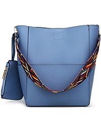 Lacira® Women's Bucket Handbag Latest Design With Colourful Strap For Ladies Set Of 2 Combo (Blue) BA031BLU