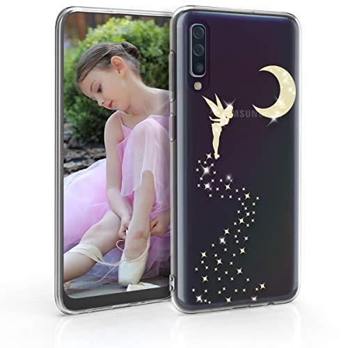 kwmobile Coque Samsung Galaxy A50 - Coque pour Samsung Galaxy A50 - Housse de téléphone en Silicone doré-Transparent