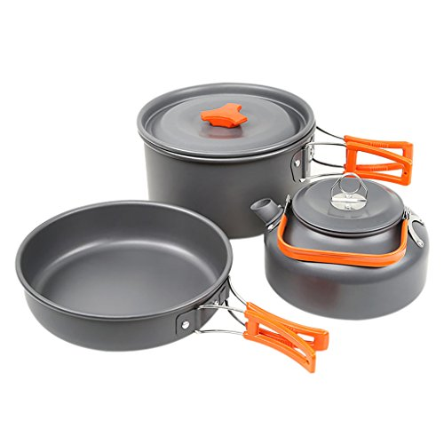 Skysper Aluminum Camping Pot Pan Cookware Outdoor Cooking Set For Camping Hiking