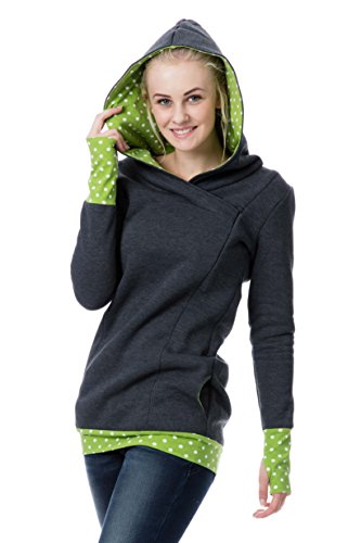 GoFutureWithLove - Robe spécial grossesse - Manches Longues - Femme Anthrazit mit weißen Punkten auf grün