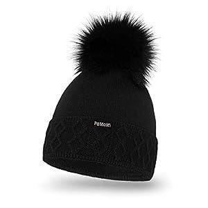PaMaMi Damen Thermo Wintermütze | warme Strickmütze mit Bommel | Gestrickte weiche Bommelmütze | Slouch Beanie Hergestellt in EU | Farbenauswahl 18564