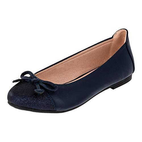 Doremi Festliche Mädchen Schuhe Ballerinas Lederoptik für Hochzeit Kommunion Freizeit M564bl2 Blau 36 EU (Kommunion Schuhe Mädchen)