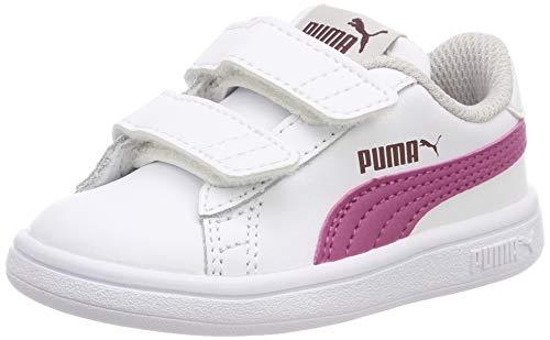 Puma Smash V2 L V Inf, Scarpe da Ginnastica Basse Unisex - Bambini, Bianco White-Magenta Haze-Fig-Gray Violet 08, 22 EU