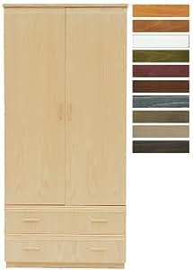 Armoire SAMOA hêtre naturel 2 portes 2 tiroirs décors rotin horizontal