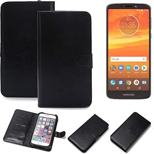 K-S-Trade 360° Wallet Case Handyhülle für Motorola Moto E5 Plus Dual-SIM Schutz Hülle Smartphone Flip Cover Flipstyle Tasche Schutzhülle Flipcover Slim Bumper schwarz, 1x