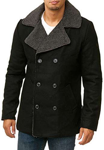 Indicode Herren Basire Winter Wollmantel Jacke Mantel Black M -