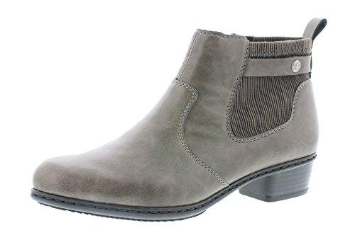 Rieker Damen Chelsea Boots Y07A2,Frauen Stiefel,Halbstiefel,Stiefelette,Bootie,Schlupfstiefel,hoch,Trichterabsatz 3.5cm,Basalt/Stromboli, EU 40