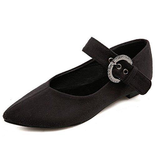 TAOFFEN Femme Mode Elegant Pointue Plat Chaussures Basse Avec Boucle noir-2
