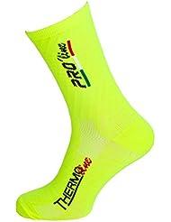 Pro-Line - Calcetines térmicos para ciclismo, triatlón, correr, amarillo y negro, Thermoline, 1 par