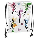 Icndpshorts Drawstring Backpacks Bags,Fantasy,Cute Pixie Spirit Elf Fairies Flying with Butterflies Girls Princess Flowers Design,Multicolor Soft Satin,5 Liter Capacity,Adjustable String Closu