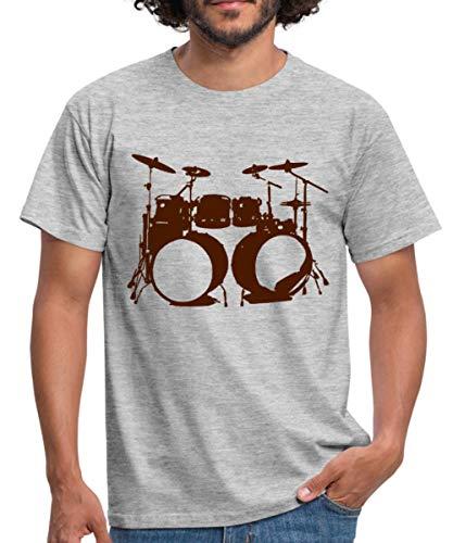 Spreadshirt Schlagzeug, Drums, Drummer, Schlagzeuger, Musik, Instrument, Double bass Männer T-Shirt, L, Grau meliert