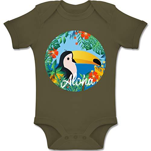 Shirtracer Karneval und Fasching Baby - Aloha Tukan - 6-12 Monate - Olivgrün - BZ10 - Baby Body Kurzarm Jungen Mädchen