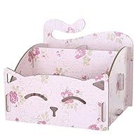 ZHOUBA Cute Cat Hollow Shape DIY Wooden Desk Storage Box Office Pen Jewelry Cred Desk Organizer (Pink Floral)