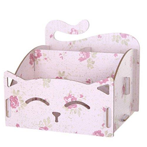 Amesii Aufbewahrungsbox aus Holz mit niedlicher Katze, für Stifte, Schmuck, Schreibtisch-Organizer (Katze-schmuck-organizer)