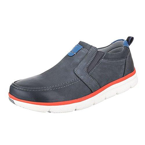 Ital-Design Slipper Herren Leder Schuhe Low-Top Moderne Halbschuhe Blau