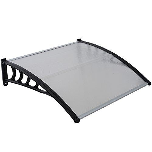Jalano Vordach schwarz Überdachung Haustürdach Türdach Pultvordach Polycarbonat 5mm mit Profilen , Vordächer:100 x 150 cm, Farbe:schwarz